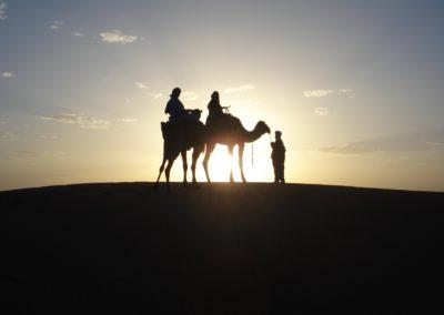 Coucher de soleil dans le désert