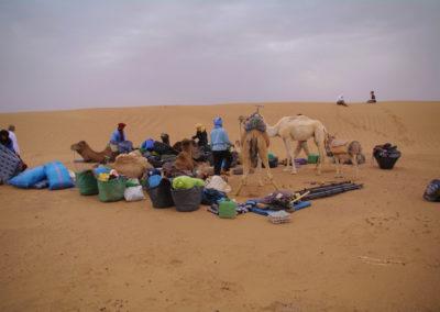 Installation de la tente dans le désert